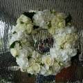 gorgeous wreath of roses, spray roses & white hydrangea