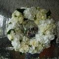 gorgeous wreath of roses, spray roses & white hydrangea