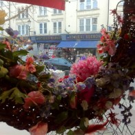 Silk flower wreath in Notting Hill