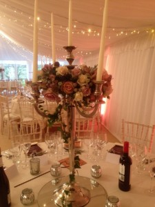 Candelabra dressed for Laura & Toms wedding @ Priory Cottages